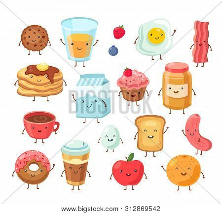 Breakfast Food Characters. Funny Cartoon Lunch Apple Eggs Toast Cake Salt. Tasty Breakfast Comic Fri