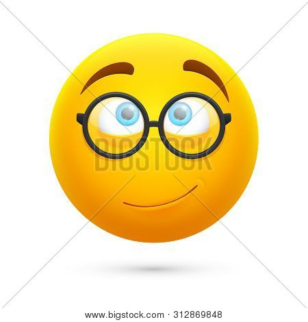 Cartoon Yellow 3d Smiley Face. Cute Geek Vector Emoji Isolated On White Background. Illustration Of