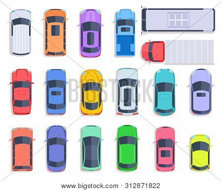 Top View Cars. Auto Transport, Truck And Car Roof Of Vehicle Transport. City Traffic, Automobile Tra