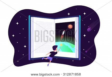 Dream With Book. Vector Child Dreams Concept. Kids Imagination With Space Travelling Boy And Earth A
