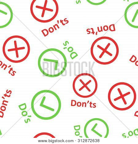 Dos And Donts Sign Icon Seamless Pattern Background. Like, Unlike Vector Illustration On White Isola