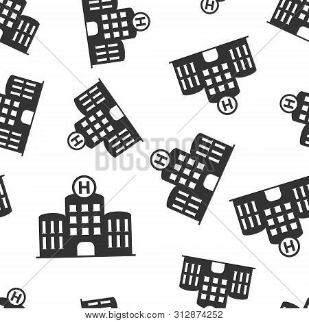 Hospital Building Icon Seamless Pattern Background. Infirmary Vector Illustration On White Isolated