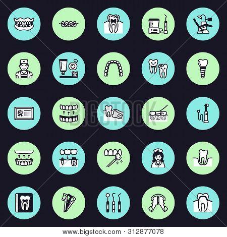 Dentist, Orthodontics Vector Flat Line Icons. Dental Care Equipment, Braces, Tooth Prosthesis, Venee