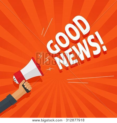 Good News Information Alert From Hand With Megaphone Or Loudspeaker Vector Illustration, Flat Cartoo