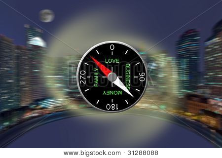The Compass Against A Night Panorama Of A City