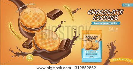 Chocolate Cream Cookies Vector Realistic. Product Placement Mock Up. Sweet Dessert Chocolate Splash