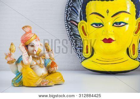 Ceramic Ganesha Statue Budha Mask Day Light