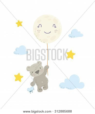 Cute Bear Is Flying In A Moon Balloon Cartoon Flat Vector Illustration For Kids. Perfect For T-shirt