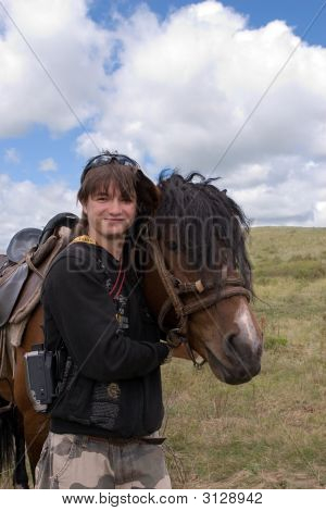 Boy Teens And Horse At Summer Day In Prairie (Series Sport, Mountains, Extreme, Horses, Teenagers)