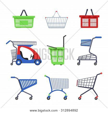 Supermarket Cart Or Trolley And Shopping Basket Isolated Objects