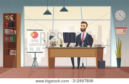 Director Office. Interior Businessman Sitting At The Table Vector Office Cartoon Picture. Office Des