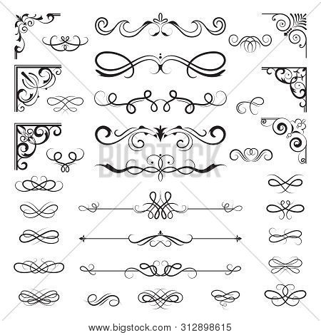 Vintage Calligraphic Borders. Floral Dividers And Corners For Decoration Designs Ornate Vector Eleme