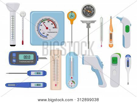 Thermometers. Hospital Medical Temperature Measure High And Low Various Indicators Vector Measure Co