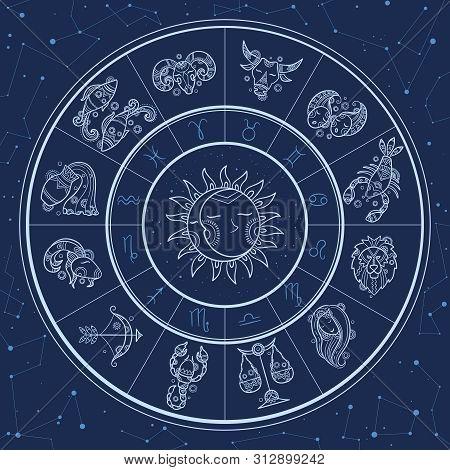 Astrology Circle. Magic Infographic With Zodiac Symbols Gemini Horoscopes Wheel Fish Gemini Aries Li