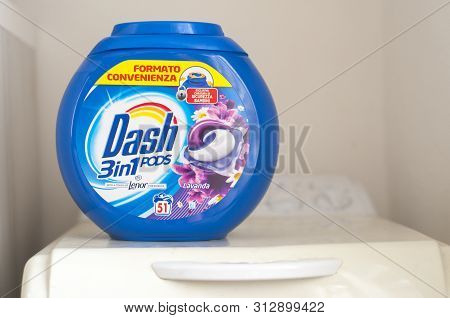 Carrara, Italy - July 23, 2019 - Savings Pack For Dash Washing Machine Capsules, Produced By The Mul