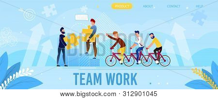 poster of Professional Team Work Flat Metaphor Landing Page. Cartoon Male Coworkers Riding Bicycle. Men Partners Connect Puzzle Pieces to Solve Business Brain-Teaser. Vector Flat Success Growth Illustration