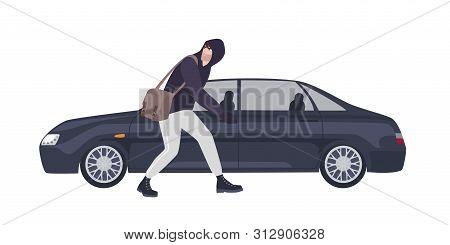 Thief, Burglar Or Rubber Dressed In Hoodie Sneaking To Break Automobiles Window. Criminal Committing