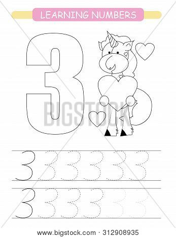 Funny Children Flashcard Number Three. Unicorn With Hearts Learning To Count And To Write. Coloring