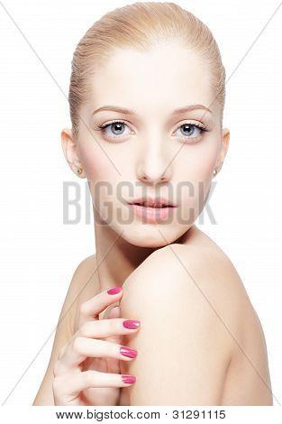 Beautiful Blonde On White