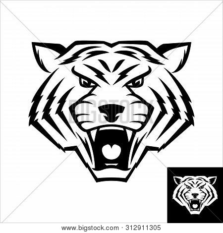 Wild Cat Head Logo Or Icon In Black And White Color. Inversion Version Included. Stock Vector Illust