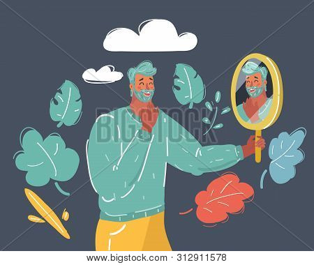 Cartoon Vector Illustration Of Positive Person Looking At His Own Reflection In The Mirror. Mirror S