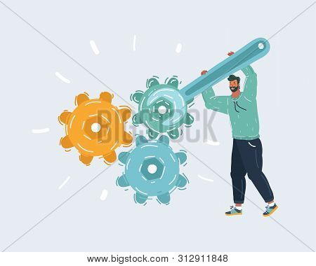 Cartoon Vector Illustration Of Man With Wrench And Gears. Human Character Isolated On White