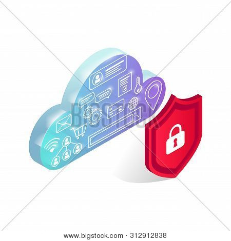 Isometric Data Storage Protection Concept. Icons In Transparent Glowing Cyber Cloud Behind Shield Is