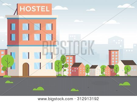 Budget Low Cost Travel, Vacation Graphic Design Elements. Exterior Hostel For Tourist. Cheap Place F