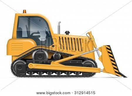 Yellow Bulldozer With View From Side Isolated On White Background. Construction Vehicle Vector Mocku