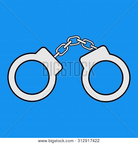 Handcuffs Icon. Vector Illustration. Flat Design Style. Handcuffs Isolated. Arrest Symbol. Jail Icon
