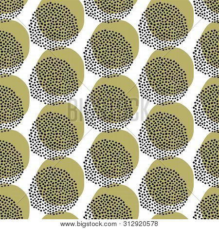 Seamless Vector Pattern. Modern Geometric Hand Drawn Seed Circle. Repeating Abstract Spotty Backgrou
