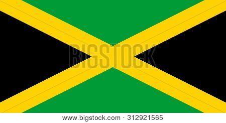 Flag Of Jamaica. Jamaica Vector Flag. National Symbol Of Jamaica