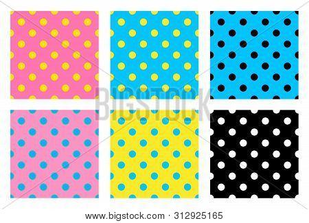 Seamless Pattern With Polka Dots. Polka Dot Fabric. Retro Vector Background Or Pattern. Random Multi