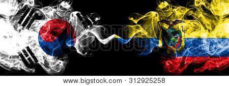 South Korea Vs Ecuador, Ecuadorian Smoky Mystic Flags Placed Side By Side. Thick Colored Silky Abstr