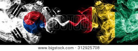 South Korea Vs Guinea, Guinean Smoky Mystic Flags Placed Side By Side. Thick Colored Silky Abstract
