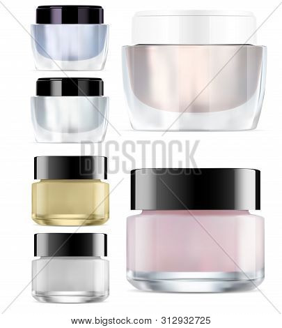Glass Cosmetic Jar Mock Up. Round Glossy Cream Packaging. Makeup Products Clear Container. Vector Pa