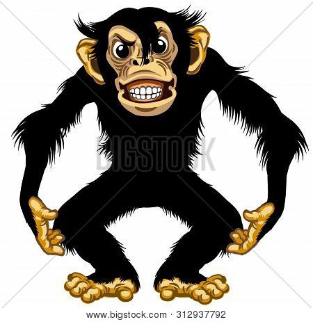 Cartoon Chimpanzee Great Ape Standing In Furious Aggressive Pose. Angry Chimp Monkey Showing His Tee