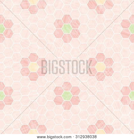 Pastel Pink And White Honeycomb Design With Mosaic Flowers. Seamless Vector Pattern With Transparent