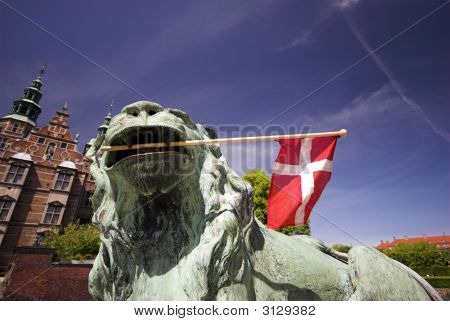 Lion, Flag And Royal Castle