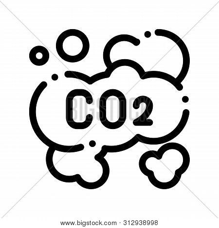 Co2 Smoulder Smoke Steam Air Thin Line Icon. Carbonic Oxide Dirty Air Environmental Pollution Defile
