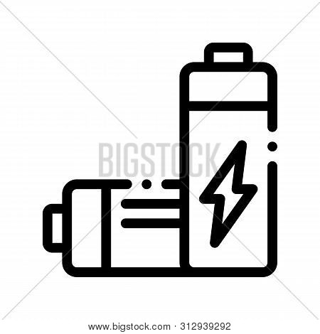 Useless Electric Battery Thin Line Icon. Battery Industrial Environmental Pollution, Chemical Contam