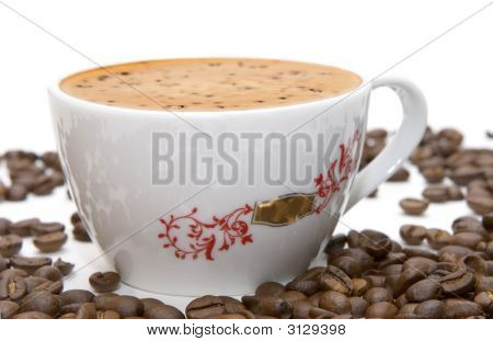 Cup Of Coffee And Grains Over White (Series Glass, Cup, Drink)