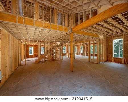 New House Interior Framing Construction In Wood