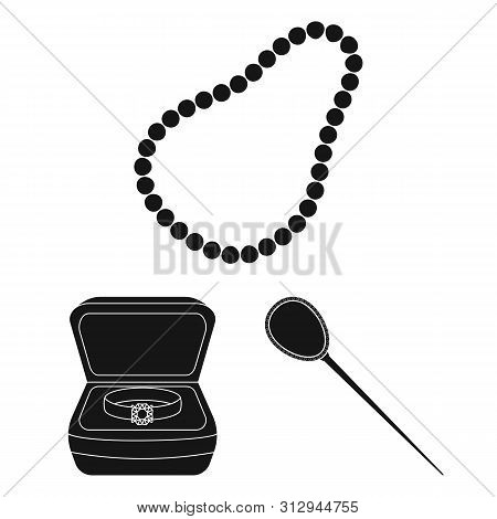 bitmap illustration of jewelery and necklace icon. Set of jewelery and pendent stock symbol for web. poster