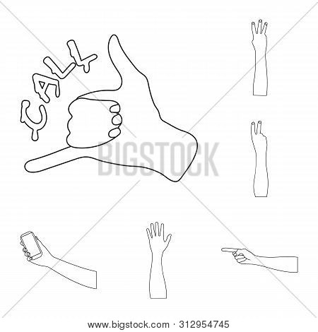 Isolated Object Of Animated And Thumb Symbol. Set Of Animated And Gesture Stock Bitmap Illustration.