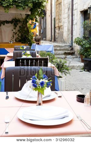 Street Restaurant In Dubrovnik.