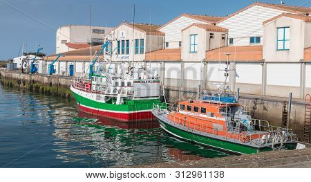 Joinville Port On The Island Of Yeu, France - September 18, 2018: Trawler Parked In The Seaport Of T