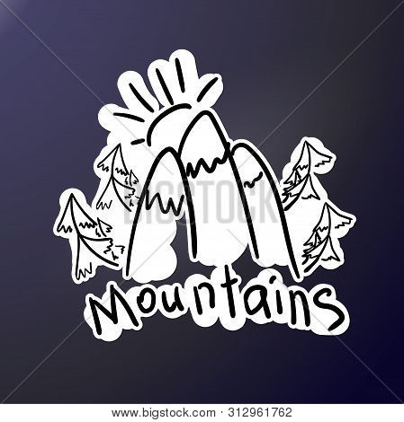 Mountain Expedition - Doodle Style Stiker. Logo In Flat Style. Extreme Exploration Car Decol. Campin