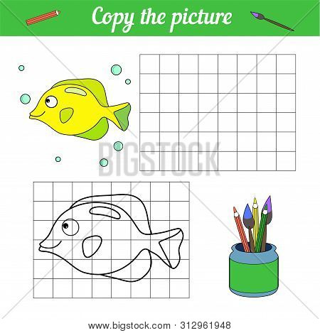 Fish Coloring Book Copy On The Grid. With A Sample Of Yellow Tang Fish And Bubbles. Leisure Developm