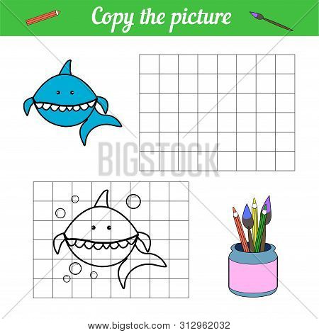 Shark Coloring Book Copy On The Grid. With A Sample Of Blue Fish And Bubbles. Leisure Development. G